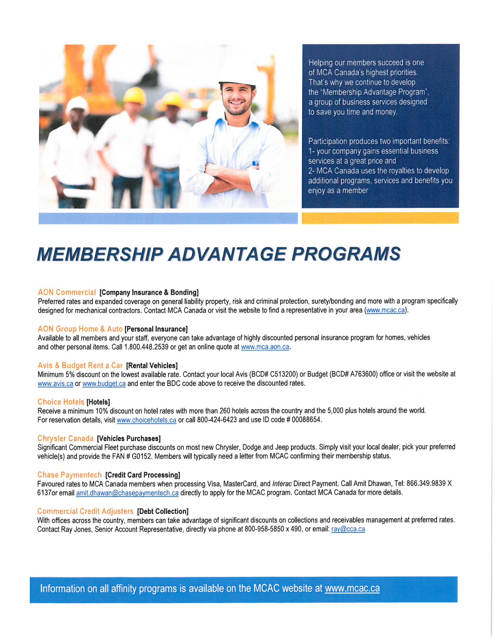 MCAC Membership Advantage Programs
